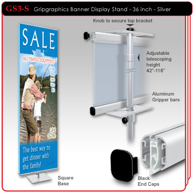 "36"" Gripgraphics Banner Display Stand"