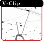 Wire V-Clip for hanging displays