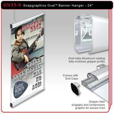 "24"" Snapgraphics Grippers - Oval Banner Hanger"