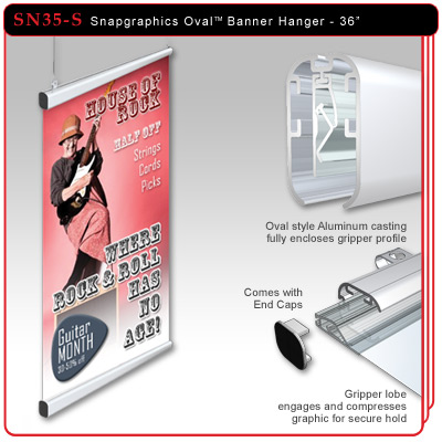 "36"" Snapgraphics Grippers - Oval Banner Hanger"