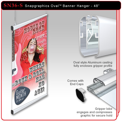 "48"" Snapgraphics Grippers - Oval Banner Hanger"
