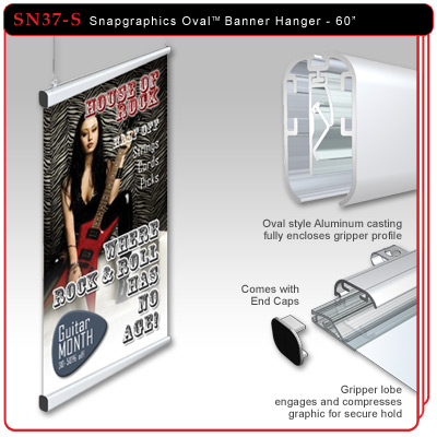 "60"" Snapgraphics Grippers - Oval Banner Hanger"