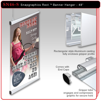 "48"" Snapgraphics Grippers - Rectangular Banner Hanger"