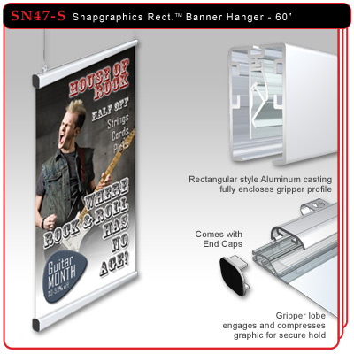 "60"" Snapgraphics Grippers - Rectangular Banner Hanger"