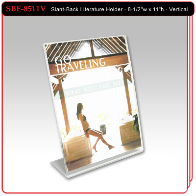 "Slant-Back Literature Holder - Vertical Style - 8-1/2""w x 11""h"