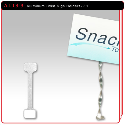 "Aluminum Twist Sign Holders - 3""L w/2 Adhesive Pads"