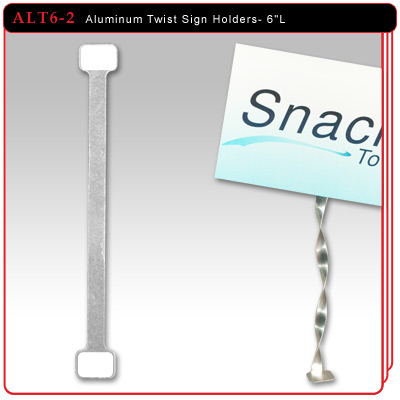 "Aluminum Twist Sign Holders - 6""L w/2 Adhesive Pads"