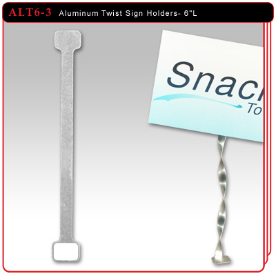 "Aluminum Twist Sign Holders - 6""L w/3 Adhesive Pads"