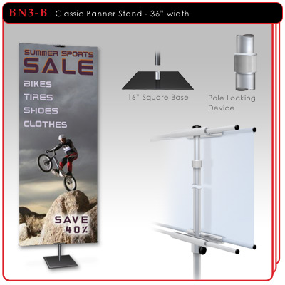 "36"" width Classic Aluminum Banner Stand"