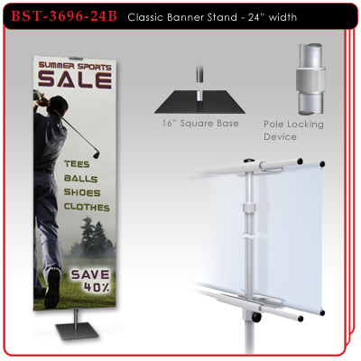 "24"" width Classic Aluminum Banner Stand"