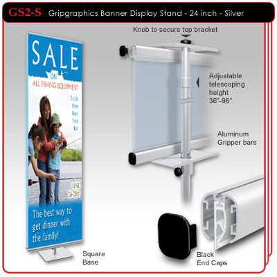 "24"" Gripgraphics Banner Display Stand"