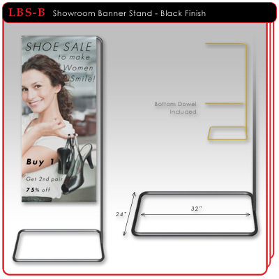 Showroom Banner Stand - Black