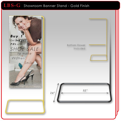 Showroom Banner Stand - Gold