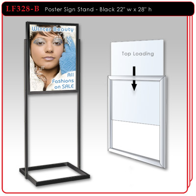 Poster Sign Stand with rectangular uprights